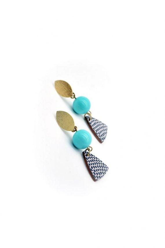 Σκουλαρίκια με ημιπολύτιμες πέτρες και ξύλινο έθνικ μοτίφ