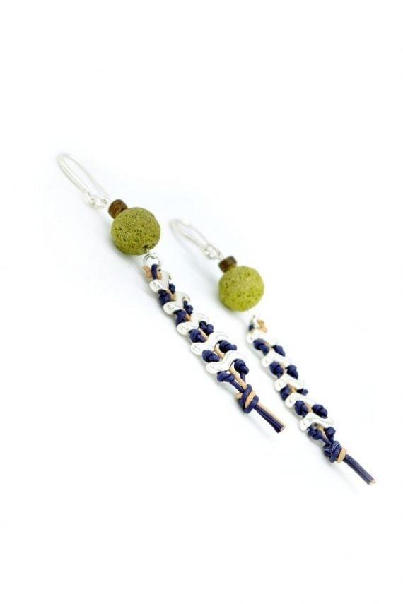 Δερμάτινα σκουλαρίκια ψαροκόκαλο με λάβα