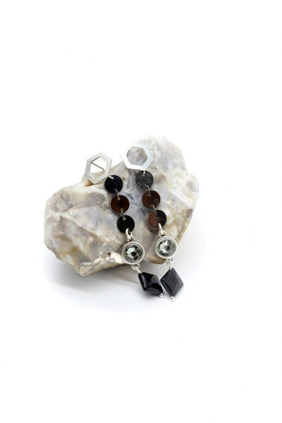 Γεωμετρικά σκουλαρίκια με μαύρο όνυχα και κρύσταλλο swarovski