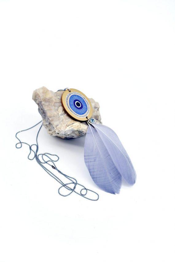 Κολιέ με μάτι, φτερό και swarovski
