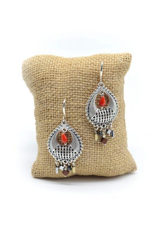 Boho σκουλαρίκια με κοράλλι σταγόνα και αιματίτη