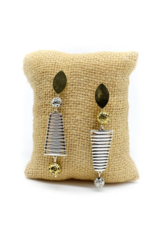 Γεωμετρικά σκουλαρίκια με επιμεταλλωμένη λάβα
