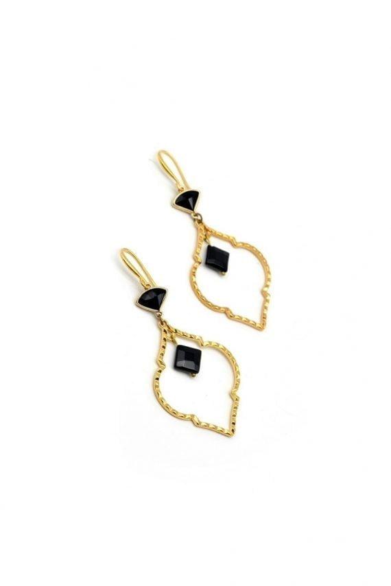 Επίχρυσα σκουλαρίκια με μαύρα στοιχεία