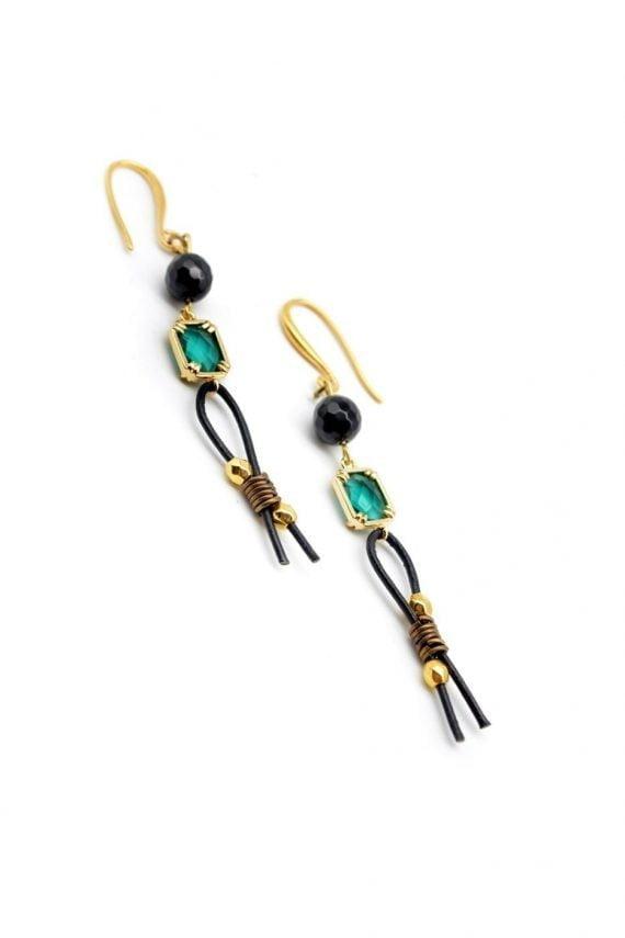 Δερμάτινα vintage σκουλαρίκια με μαύρο όνυχα