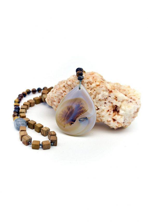 Ροζάριο με ημιπολύτιμες πέτρες και σταγόνα δενδροειδή αχάτη