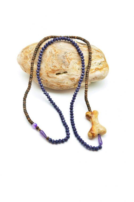 Ταϋγέτη, tribal κολιέ με αχάτη, κρύσταλλο, και καρύδα