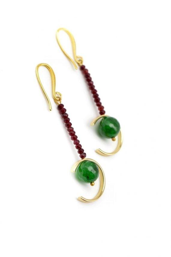 Σκουλαρίκια με πράσινο ίασπι και γρανάτη