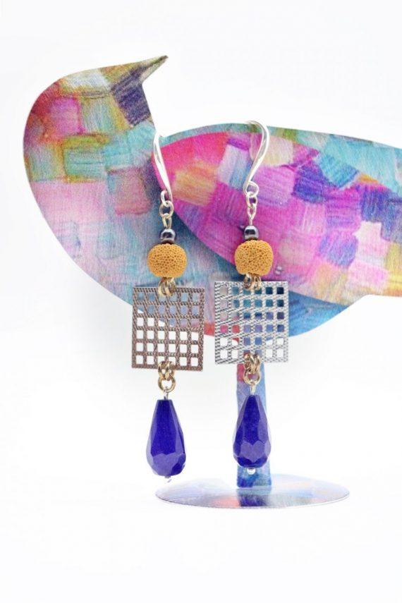Σκουλαρίκια με μπλε ίασπι και λάβα